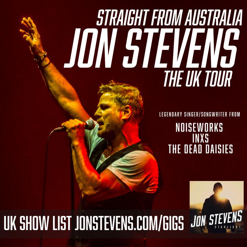 Jon Stevens dates for 2017 UK tour.